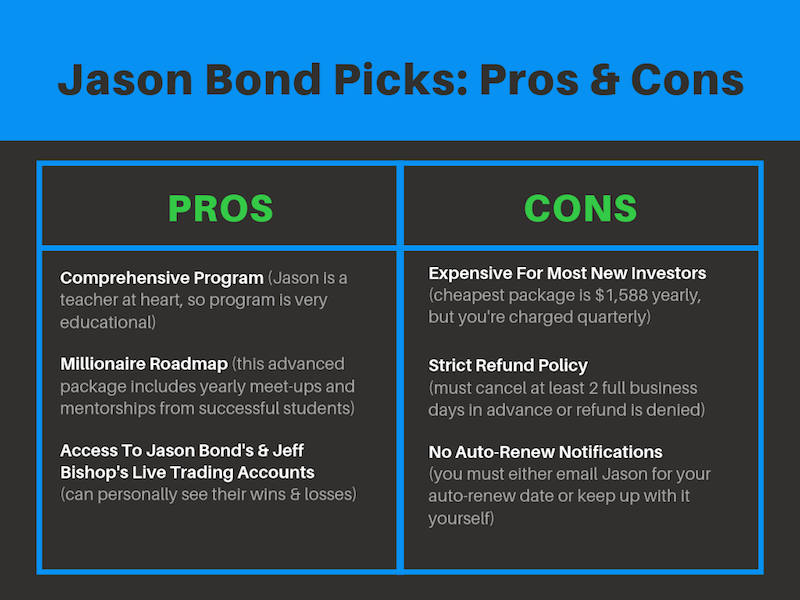 Jason Bond Picks Pros and Cons