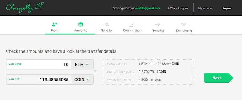 Changelly Interface