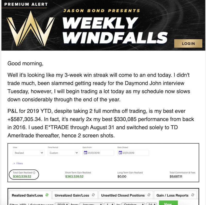 Weekly Windfall Newsletter