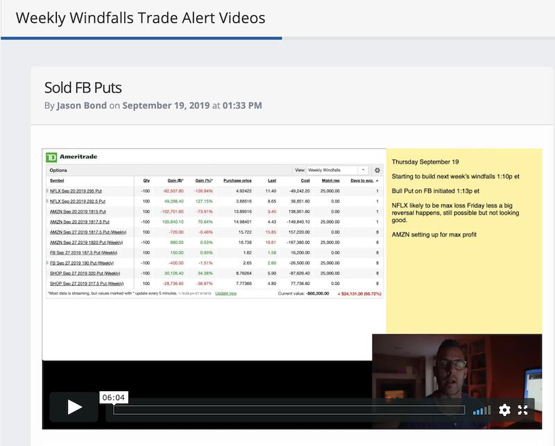 Weekly Windfalls Trade Alerts