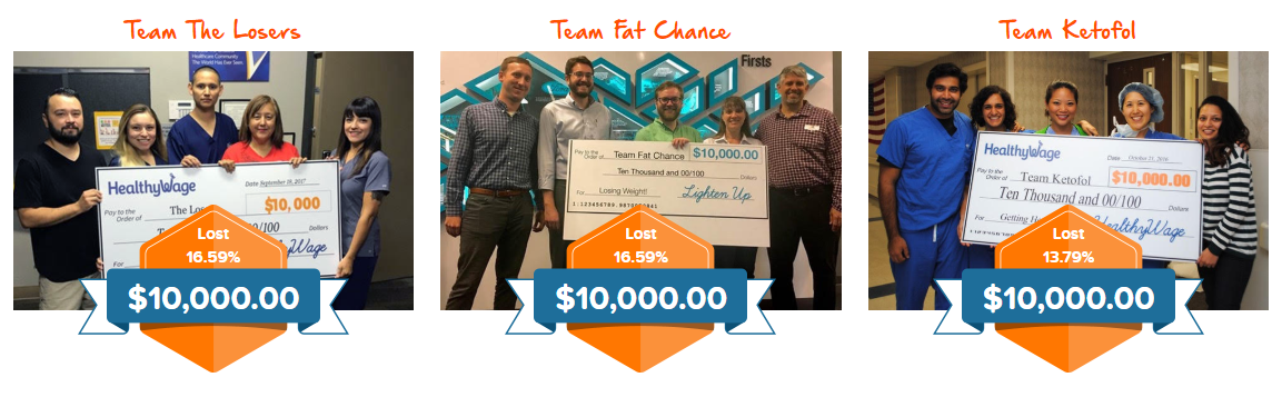 Healthywage team weight loss winners